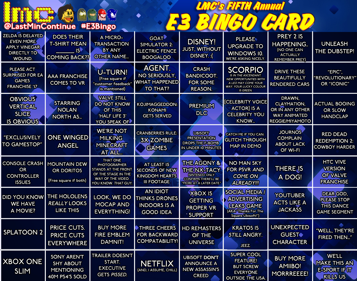 LMC E3 2016 Bingo Card