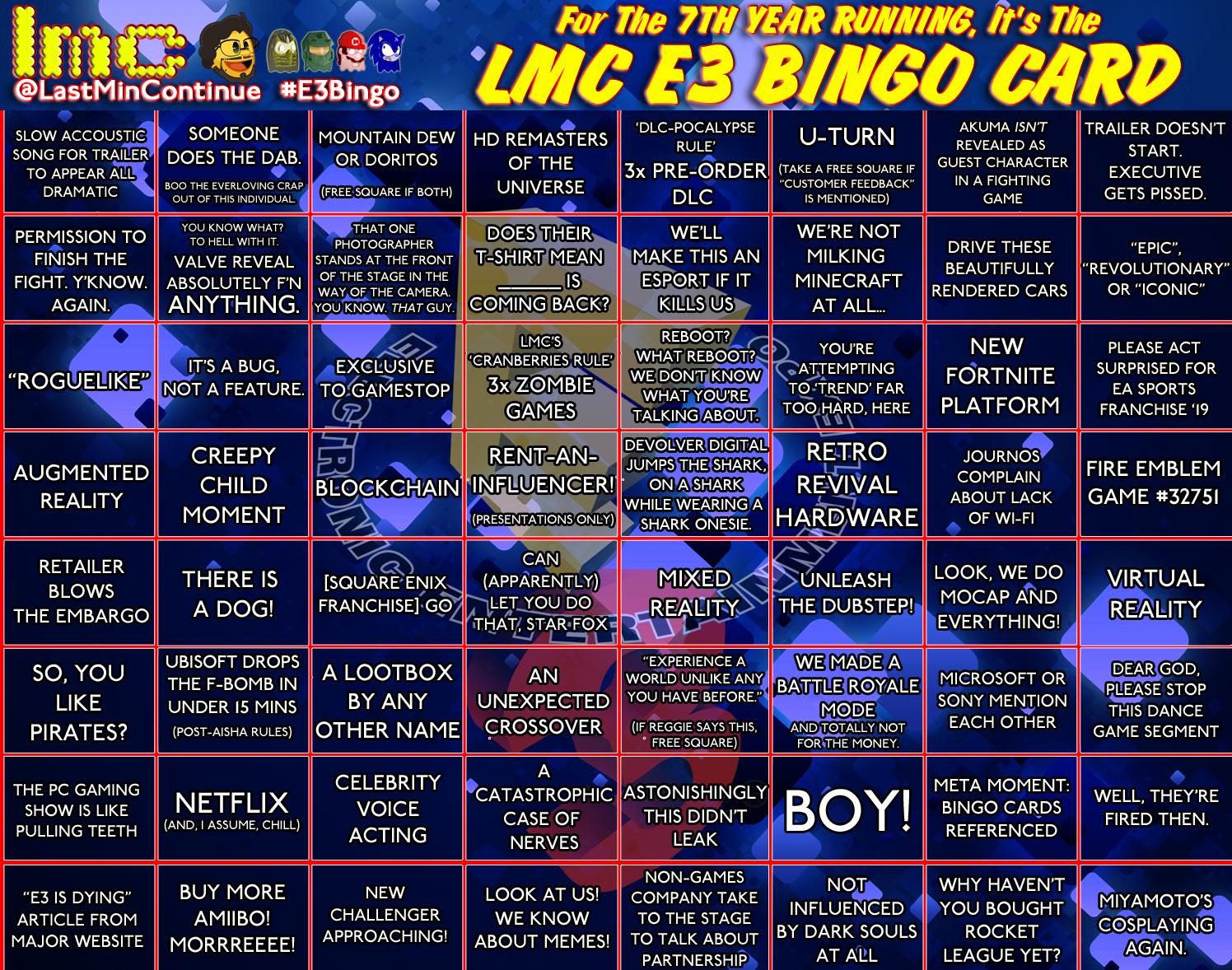 LMC E3 Bingo Card 2018