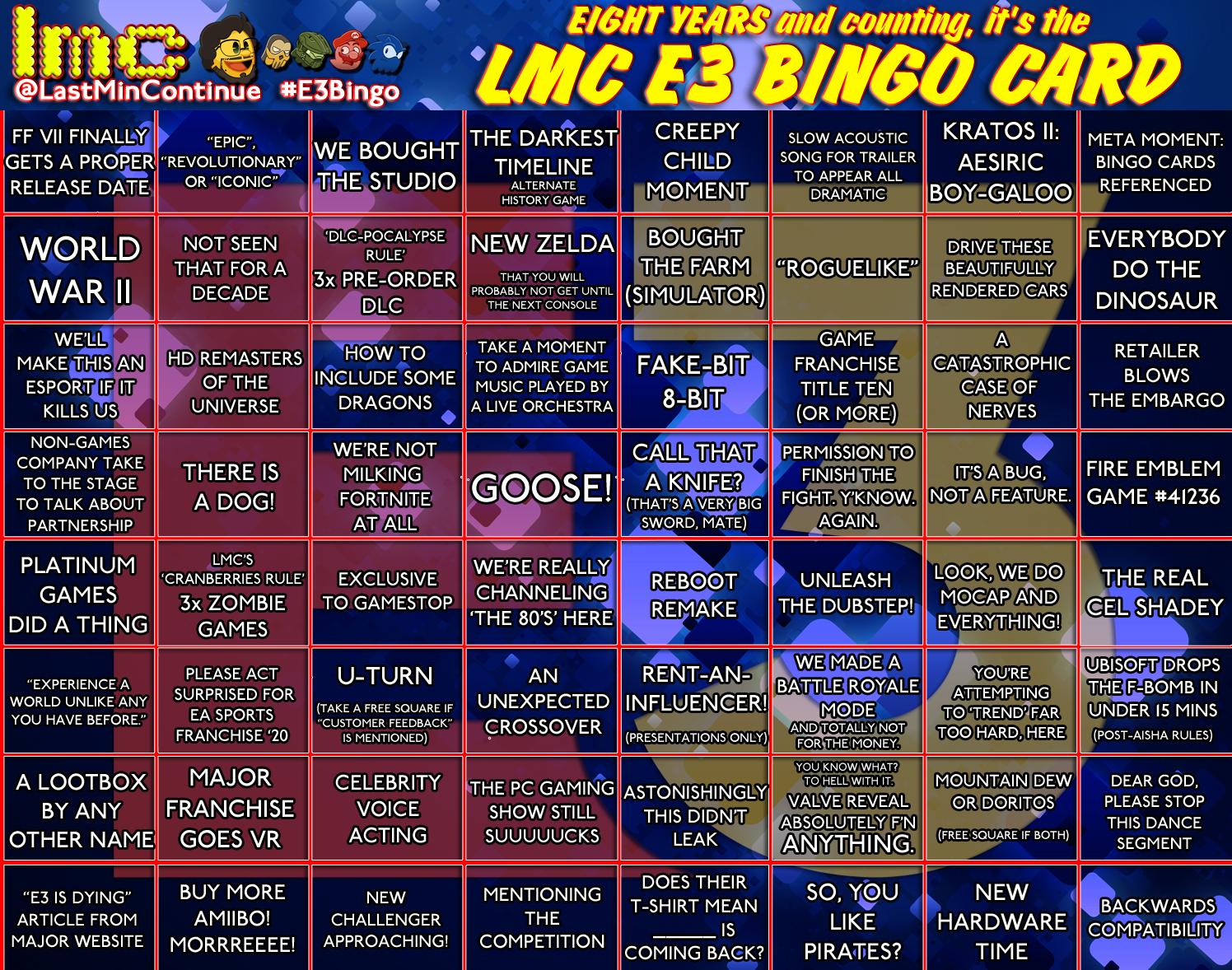 LMC's E3 Bingo Card 2019