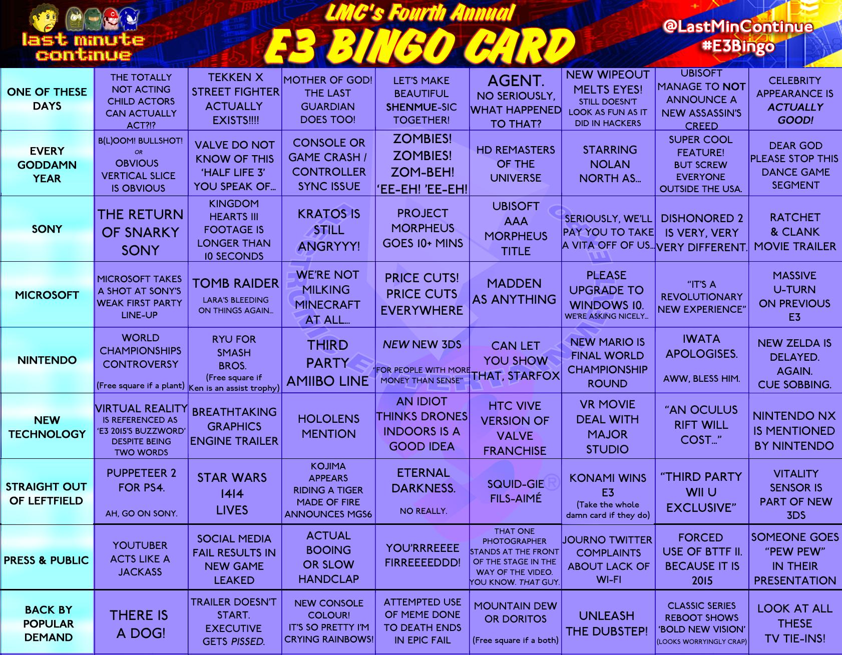 LMC E3 Bingo Card 2015